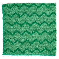 Rubbermaid FGQ62006GR00 HYGEN 16 inch x 16 inch Green Microfiber Cloth   - 6/Pack