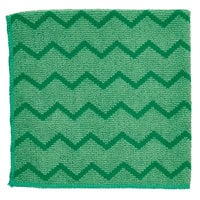 Rubbermaid FGQ62000GR00 HYGEN 16 inch x 16 inch Green Microfiber Cloth - 12/Pack