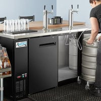 Avantco UDD-378-HC Black Kegerator / Beer Dispenser with 2 Double Tap Towers - (4) 1/2 Keg Capacity