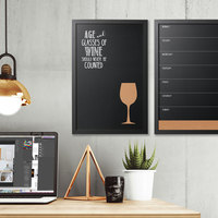 MasterVision PM0327168 16 inch x 24 inch Combo Vino Quote Wall-Mount Chalkboard with Black MDF Frame