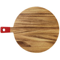 14 1/2 inch Acacia Wood Round Serving Board with Red Handle