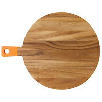 14 1/2 inch Acacia Wood Round Serving Board with Orange Handle