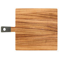13 inch x 12 3/4 inch x 1/2 inch Acacia Wood Square Serving Board with Grey Handle