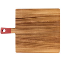 13 inch x 12 3/4 inch x 1/2 inch Acacia Wood Square Serving Board with Red Handle