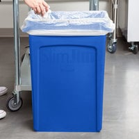 Rubbermaid 1956185 92 Qt. / 23 Gallon Slim Jim Blue Rectangular Trash Can