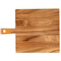 13 inch x 12 3/4 inch x 1/2 inch Acacia Wood Square Serving Board with Orange Handle