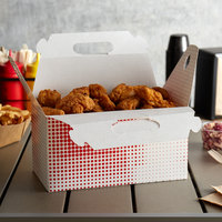 Customizable 9 1/2 inch x 5 inch x 5 inch Red Plaid Barn Take-Out Lunch / Chicken Box - 125/Case
