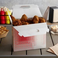 Customizable 9 1/2 inch x 5 inch x 8 inch Red Plaid Barn Take-Out Lunch / Chicken Box - 125/Case