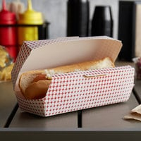 Customizable 7 inch x 2 3/4 inch x 2 1/2 inch Red Plaid / Star Hinged Paper Hot Dog Clamshell Container - 400/Case