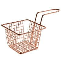 Choice 4 inch x 4 inch x 3 inch Rose Gold Square Mini Fry Basket