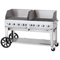 Crown Verity CV-MCB-60-SI-BULK-WGP Liquid Propane 60 inch Mobile Outdoor Grill with Single Gas Connection, Bulk Tank Capacity, and Wind Guard Package