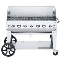 Crown Verity CV-MCB-48-SI50/100-WGP Liquid Propane 48 inch Mobile Outdoor Grill with Single Gas Connection, 50-100 lb. Tank Capacity, and Wind Guard Package