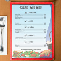 8 1/2 inch x 11 inch Menu Paper - Coffee Shop Themed Table Setting Design Right Insert - 100/Pack