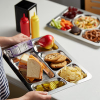 15 1/2 inch x 11 1/2 inch Stainless Steel Rectangular 6 Compartment Tray with Trapezoid Center