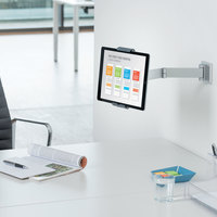 Durable 893423 Silver Metal Wall-Mount Tablet Holder with Swinging Arm