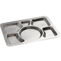 15 1/2 inch x 11 1/2 inch Stainless Steel Rectangular 6 Compartment Tray with Circle Center
