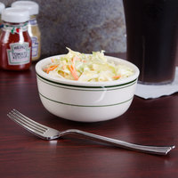 Tuxton TGB-095 Green Bay 9.5 oz. Eggshell China Jung Soup Bowl with Green Bands - 36/Case