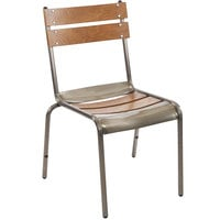 BFM Seating JS66CASH-AACL Dalton Stackable Side Chair with Clear Coat Frame and Autumn Ash Veneer Wood Seat and Back
