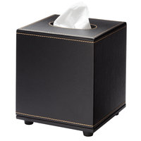 Melrose Black Collection Faux Leather Square Tissue Box Cover