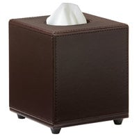 Melrose Brown Collection Faux Leather Square Tissue Box Cover