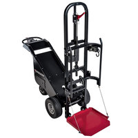 Magliner MDC90B 1100 lb. Motorized Dewar Cart with Foam Filled Tires, 1 Retractable Ratchet Strap, and Foldable Base Plate - 36V, 800W