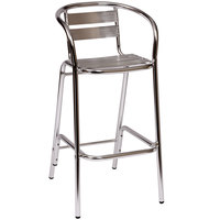 BFM Seating PH0063 Parma Outdoor / Indoor Bar Height Aluminum Arm Chair