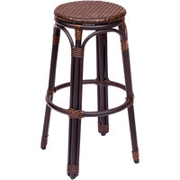 BFM Seating PH10BBBBL Marina Outdoor / Indoor Brown Synthetic Wicker Barstool