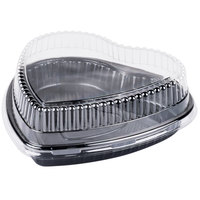 Genpak 55H09 Bake N' Show Dual Ovenable Heart Shape Black Cake Pan with Lid - 10/Pack