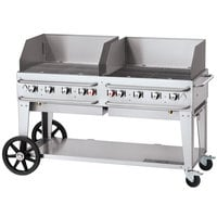 Crown Verity CV-RCB-60WGP-SI50/100 60 inch Pro Series Outdoor Rental Grill with Single Gas Connection, 50-100 lb. Capacity, and Wind Guard Package