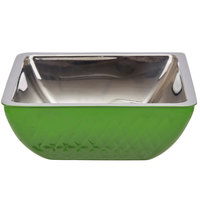 Bon Chef Diamond Collection Cold Wave 2 Qt. Lime Green Triple Wall Square Bowl