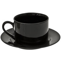 10 Strawberry Street BRB0009 Black Rim 8 oz. Porcelain Coffee Cup and Saucer Set - 24/Case
