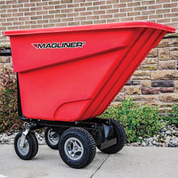 Magliner MHCSBB 0.5 Cubic Yard Motorized Hopper Cart with 13 inch Foam Filled Wheels and Dual Handle Bars (400 lb.)
