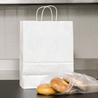 Small 10 inch x 5 inch x 13 inch White Paper Shopping Bag with Handles - 250/Bundle