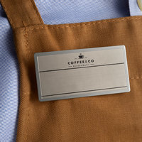 Cawley 1 1/2 inch x 3 inch Customizable Silver Economy Metal Rectangle Nametag
