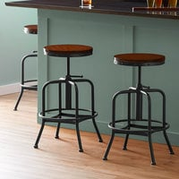 Lancaster Table & Seating Screw Top Adjustable Height Black Barstool with Antique Walnut Seat