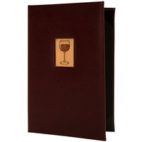 H. Risch, Inc. BEV-W-TAM 5 1/2 inch x 8 1/2 inch 2 View Wine Menu Cover with Wood Wine Inlay
