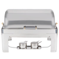 Vollrath 46080 9 Qt. New York, New York Roll Top Chafer Full Size with Brass Trim