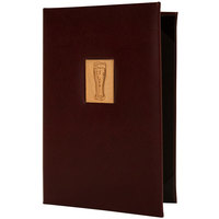 H. Risch, Inc. BEV-P-TAM 5 1/2 inch x 8 1/2 inch 2 View Wine Menu Cover with Wood Pilsner Inlay