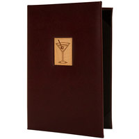 H. Risch, Inc. BEV-M-TAM 5 1/2 inch x 8 1/2 inch 2 View Wine Menu Cover with Wood Martini Inlay