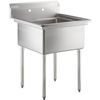 Steelton 29 1/2 inch 18-Gauge Stainless Steel One Compartment Commercial Sink without Drainboard - 24 inch x 24 inch x 12 inch Bowl