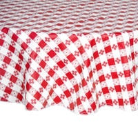 Intedge 60 inch Round Red Checkered Gingham Vinyl Table Cover with Flannel Back