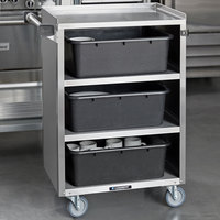 Lakeside 815 4 Shelf Medium Duty Stainless Steel Utility Cart with Enclosed Base - 16 7/8 inch x 28 1/4 inch x 37 1/2 inch