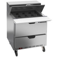Beverage-Air SPED32HC-12M-2 Elite Series 32 inch 2 Drawer Mega Top Refrigerated Sandwich Prep Table