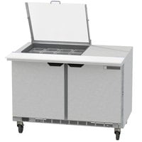 Beverage-Air SPED48HC-12M-2-CL Elite Series 48 inch 2 Drawer Mega Top Refrigerated Sandwich Prep Table with Clear Lid