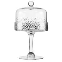 The Jay Companies Fitz & Floyd Luster 6 1/2 inch Glass Pedestal Cake Stand with Silver Dome Cover