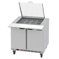 Beverage-Air SPED36HC-15M-2-CL Elite Series 36 inch 2 Drawer Mega Top Refrigerated Sandwich Prep Table with Clear Lid