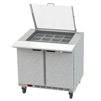 Beverage-Air SPED36HC-12M-2-CL Elite Series 36 inch 2 Drawer Mega Top Refrigerated Sandwich Prep Table with Clear Lid