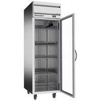 Beverage-Air HRPS1HC-1G Horizon Series 26 inch PS Finish Top Mounted Glass Door Reach-In Refrigerator