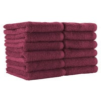 16 inch x 28 inch 100% Ring Spun Cotton Burgundy Bleach-Safe Hand Towel 3 lb.   - 144/Case