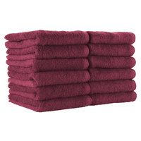 16 inch x 27 inch 100% Ring Spun Cotton Burgundy Bleach-Safe Hand Towel 2.5 lb. - 180/Case